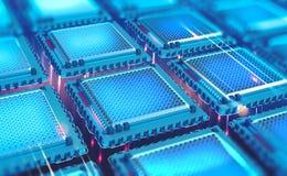 Φουτουριστική ΚΜΕ Κβαντικός επεξεργαστής στο παγκόσμιο δίκτυο υπολογιστών διανυσματική απεικόνιση
