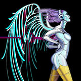 Cyber Angel. Profile of a girl walking cybernetic angel Stock Illustration