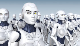 Cyber Army. Of robots. 3D illustration Royalty Free Stock Photography