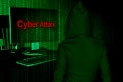 Cyber attack. Computer hacker or Cyber attack concept background ,3d illustration Stock Image