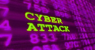 Cyber attack and computer security warnings with noise effect. Cyber attack and computer security warnings - cyber attack - green words and numbers on royalty free stock photo