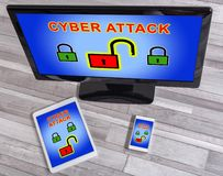 Cyber attack concept on different devices. Cyber attack concept shown on different information technology devices royalty free stock image