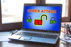 Cyber attack concept on a laptop screen. Laptop screen displaying a cyber attack concept stock photos