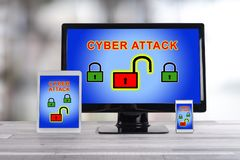 Cyber attack concept on different devices. Cyber attack concept shown on different information technology devices stock photography