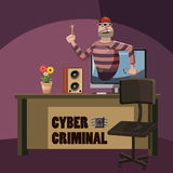 Cyber attack criminal spy concept, cartoon style Royalty Free Stock Photography