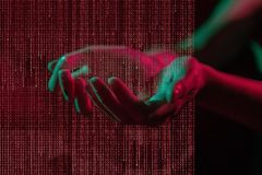 Cyber Attack. Concept with binary and hands royalty free stock photos