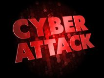 Cyber Attack on Dark Digital Background. Stock Photos