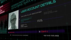 Cyber attack and data base hack, Computer Screen close up of hacker attack, Code running in a virtual space stock video footage