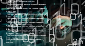 Cyber attack, futuristic cyber crime. Computer hacker typing on keyboard. Binary code and trojan virus code, green abstract background Royalty Free Stock Photo