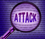 Cyber Attack Indicates Magnifier Knowledge And Online Royalty Free Stock Image