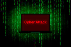Cyber attack. On Laptop screen,Computer hacker or  concept background Royalty Free Stock Photo