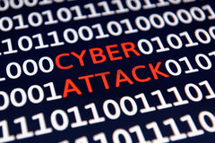 Cyber Attack. Message on the computer screen stock image