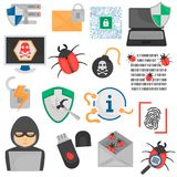 Cyber attack and protection color flat icons set. Cyber attack and protection color icons set Royalty Free Stock Image