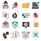 Cyber attack and protection color flat icons set. Cyber attack and protection color icons set Stock Image