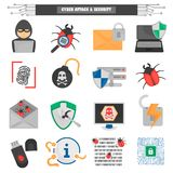 Cyber attack and protection color flat icons set. Cyber attack and protection color icons set Stock Photography