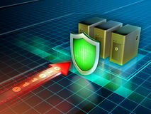 Cyber attack protection. 3D illustration Royalty Free Stock Images