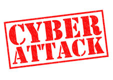 CYBER ATTACK. Red Rubber Stamp over a white background Royalty Free Stock Images