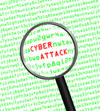Cyber Attack revealed in computer machine code through a magnify Royalty Free Stock Image