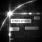 CYBER ATTACK. Word cloud concept illustration. Wordcloud collage vector illustration