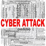 Cyber attack word cloud. Creative illustration of idea word lettering typography . 3D rendering Stock Photography