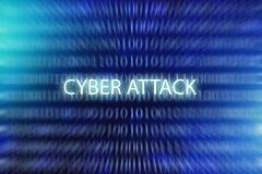 Cyber attack - words on blue blurred binary code background, internet security and hacking in cyberspace royalty free stock photography