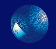 Cyber ball. 3D vector file Royalty Free Stock Photo
