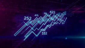 Cyber bedrijfsconcept met grafiek het van een lus voorzien animatie stock illustratie
