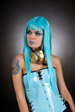 cyber benzynowej dziewczyny złota maska Zdjęcie Stock