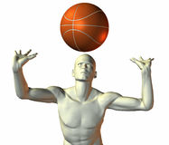 Cyber boy with basket ball. 3d cyber boy with basket ball isolated on a white background Royalty Free Stock Photography