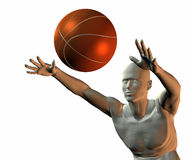 Cyber boy with basket ball. 3d cyber boy with basket ball isolated on a white background Royalty Free Stock Images