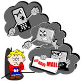 Cyber bullying. Cartoon with scared child mobile phone and PC Stock Photos