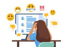 Free Cyber Bullying People Vector Illustration, Cartoon Flat Sad Young Bullied Girl Character Sitting In Front Of Computer Royalty Free Stock Photography - 188363697