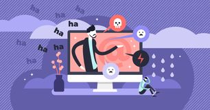 Free Cyber Bullying Vector Illustration. Flat Tiny Web Violence Persons Concept. Royalty Free Stock Image - 148835186