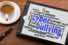 Cyber bullying word cloud. Cyber bullying concept word cloud Stock Images