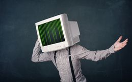 Cyber human with a monitor screen and computer code on the displ. Cyber business human with a monitor screen and computer code on the display Royalty Free Stock Image