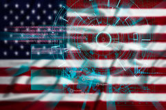 Cyber celu ochrona na celowo zamazanym Stany Zjednoczone fl Zdjęcie Stock