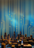 Cyber City Circuits. Skyline of a city made of circuit board structure skyscrapers, with a cirucit board graphics background vector illustration