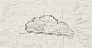 Cyber cloud symbol futuristic animation