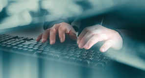 Cyber crime attack on bank Stock Photo
