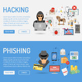Cyber Crime Banners. For Flyer, Poster, Web Site, Printing Advertising Like Hacker and Social Engineering Stock Photos