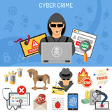 Cyber Crime Concept. For Flyer, Poster, Web Site, Printing Advertising Like Hacker, Thief and Social Engineering Flat Icons. Isolated vector illustration Stock Photos