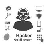 Cyber Crime Concept. hacks password,Flat style icons Hacker, Virus, Bug, Spam and Social Engineering. illustration. Cyber Crime Concept. hacks password,Flat Stock Photo
