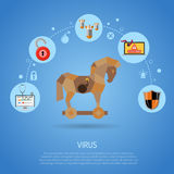 Cyber Crime Concept with Virus. Cyber Crime and Virus Concept with Trojan Horse, Bomb, worm and Bug Flat Icons. vector illustration Royalty Free Stock Image