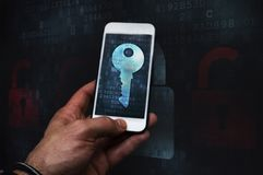 Cyber crime hacker using mobile phone royalty free stock photo