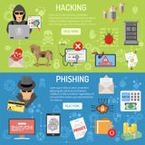 Cyber Crime hacking and phishing Banners. Cyber Crime horizontal Banners theme hacking and phishing with flat Icons Hacker, virus, spam. vector illustration stock illustration
