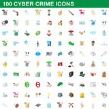 100 cyber crime icons set, cartoon style. 100 cyber crime icons set in cartoon style for any design illustration vector illustration