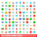 100 cyber crime icons set, cartoon style. 100 cyber crime icons set in cartoon style for any design vector illustration Stock Photography