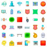 Cyber crime icons set, cartoon style. Cyber crime icons set. Cartoon style of 36 cyber crime vector icons for web isolated on white background Stock Images