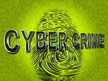 Cyber Crime Indicates Spyware Malware And Hackers. Cyber Crime Representing Threat Vulnerable And Fingerprint Stock Image
