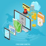 Cyber crime isometric concept Royalty Free Stock Photo